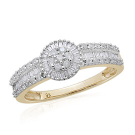9K Yellow Gold SGL Certified Diamond (I3/G-H) Ring 0.500 Ct.