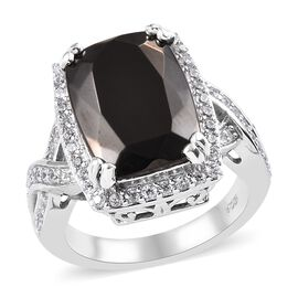 4.75 Ct Elite Shungite and Zircon Halo Ring in Platinum Plated Sterling Silver 5 Grams
