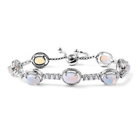 Opalite (Ovl), Simulated Diamond Adjustable Bracelet (Size 6-9) in Silver Tone 25.00 Ct.