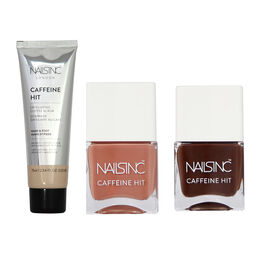 Nails Inc: Chai Kiss Nude - 14ml, Expresso Martini Brown - 14ml & Caffeine Hit Exfoliating Scrub - 7