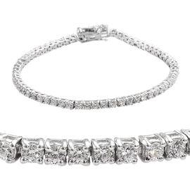 J Francis - Platinum Overlay Sterling Silver (Rnd) Tennis Bracelet (Size 7.5)  Made with SWAROVSKI Z