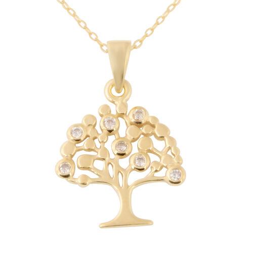 Italian Made-14K Gold Overlay Sterling Silver Tree Pendant