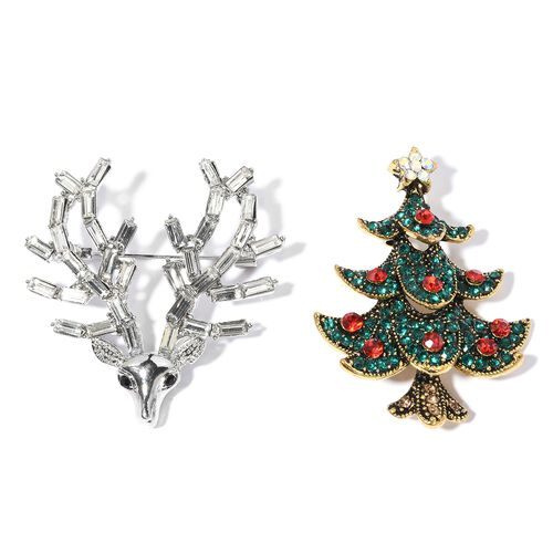 2 Pcs Set- Multi and Black Colour  Austrian Crystal and Simulated Diamond Christmas Tree and Reindeer Brooch