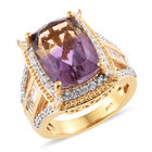 8.50 Ct Anahi Ametrine and Zircon Cluster Ring (Size R) in Gold Plated Silver 6.84 Grams