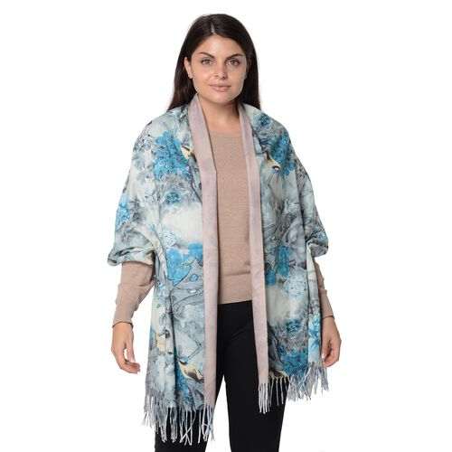 Reversible Digital Printed Peony Pattern Scarf with Tassel (Size 70x180 Cm) - Khaki and Blue