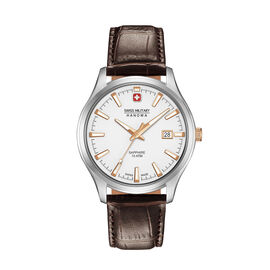 Swiss Military Hanowa Mens Watch with White Dial and Brown Strap