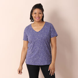 Jovie Jersey Print Short Sleeved With Polka  Dot Pattern Top - Blue