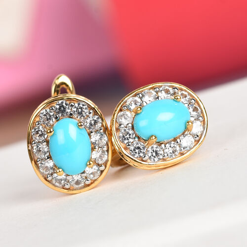 Arizona Sleeping Beauty Turquoise and Natural Cambodian Zircon Earrings (with Clasp) in 14K Gold Overlay Sterling Silver 2.50 Ct.