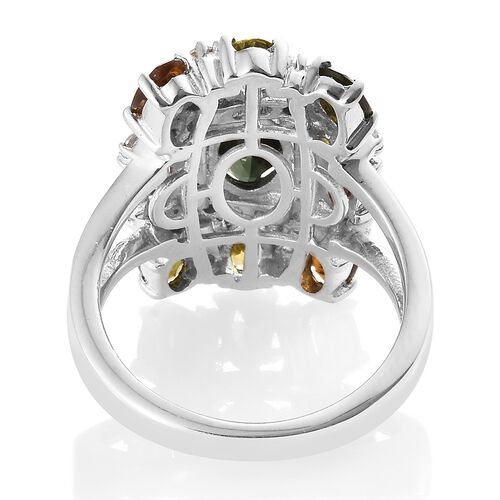 Rainbow Tourmaline (Ovl), Natural Cambodian Zircon Ring in Platinum Overlay Sterling Silver 3.500 Ct. Silver wt 5.01 Gms.