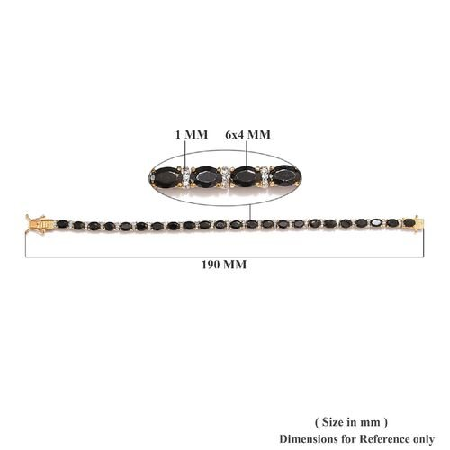 GP Elite Shungite (Ovl), Natural Cambodian Zircon and Blue Sapphire Tennis Bracelet (Size 7) in 14K Gold Overlay Sterling Silver 6.93 Ct, Silver wt 12.00 Gms