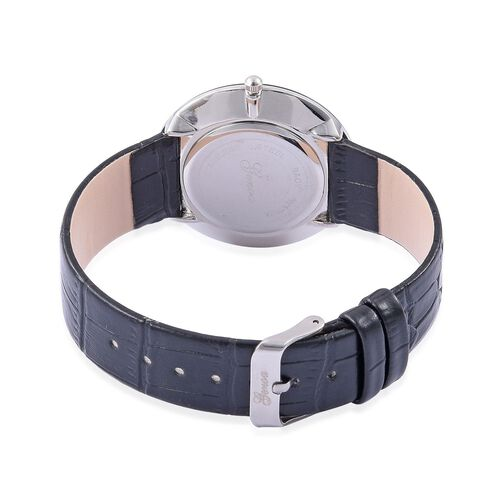 GENOA Japanese Movement Black Quartzite, White Austrian Crystal Studded Water Resistant Watch with Stainless Steel Back and Black Strap 25.000 Ct.