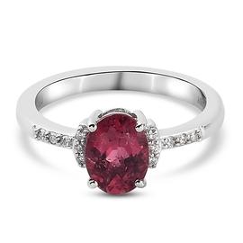 RHAPSODY 950 Platinum AAAA Ouro Fino Rubelite and Natural Diamond (VS/ E-F) Ring 1.34 Ct.