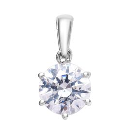 J Francis - Platinum Overlay Sterling Silver (Rnd) Pendant Made with SWAROVSKI ZIRCONIA 3.30 Ct.