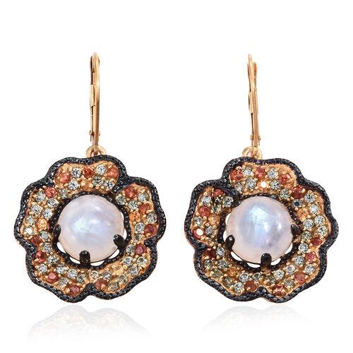 Sri Lankan Rainbow Moonstone (Rnd), Rainbow Sapphire Floral Inspired Lever Back Earrings in 14K Gold