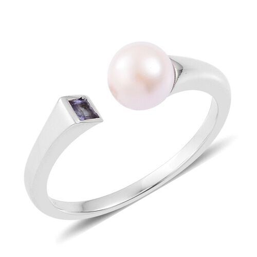 Pearl Tanzanite: 9K W Gold Japanese Akoya Pearl (Rnd), Tanzanite Ring