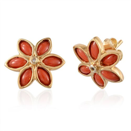 Mediterranean Coral (1.75 Ct),White Topaz 14K Gold Overlay Sterling Silver Earring  1.800  Ct.