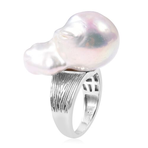 Baroque Freshwater Pearl Solitaire Ring in Rhodium Overlay Sterling Silver