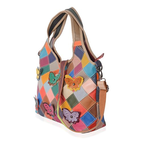 Morocco Collection100% Genuine Leather Multi Colour 3D Butterfly Adorned Tote Bag (Size 34x27x12 Cm)