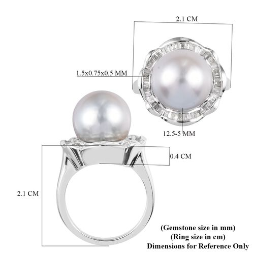 Royal Bali Collection - South Sea Pearl and Diamond Ring in Platinum Overlay Sterling Silver Ring