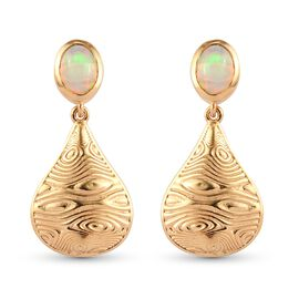 Ethiopian Welo Opal Drop Earrings (with Push Back) in 14K Gold Overlay Sterling Silver 1.13Ct.