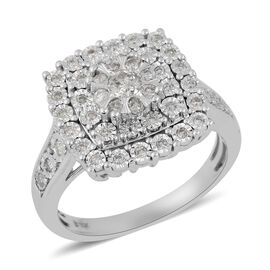 9K White Gold Diamond (I1-I2/G-H) Cluster Ring 0.50 Ct.