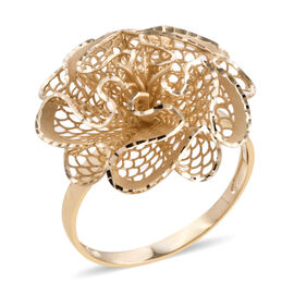 Royal Bali Collection 9K Yellow Gold Diamond Cut Floral Ring Gold Wt 2.42 Grams