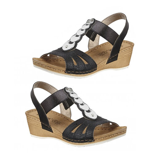 Lotus Padova Wedge Sandals (Size 5) - Black