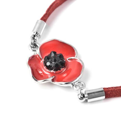 TJC Poppy Design - Black Austrian Crystal Enamelled Poppy Bracelet (Size 9.5 with Extender)