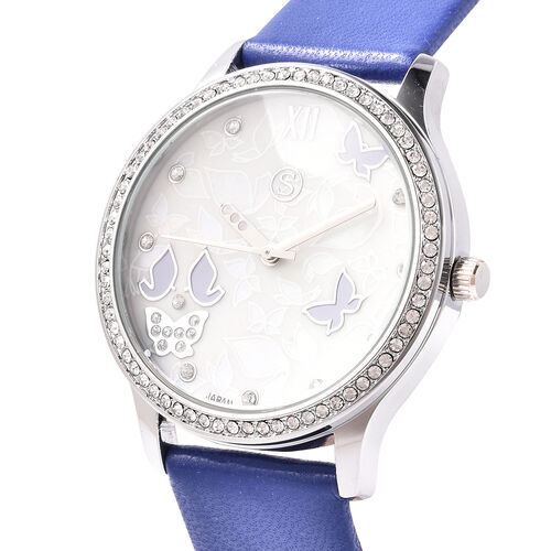 3 Piece Set - Simulated Diamond, Blue Shell Pearl and White Austrian Crystal Butterfly Watch with Blue Strap, Necklace and Earrings