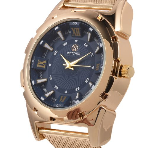 STRADA Japanese Movement Water Resistant Navy Blue Dial Watch with Gold Strap