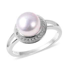 Freshwater White Pearl and Cambodian Zircon Halo Ring in Rhodium Plated Sterling Silver