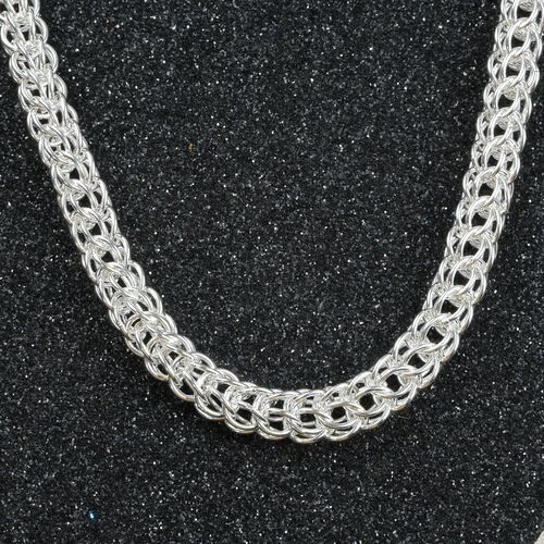 Rhodium Overlay Sterling Silver Persian Weave Necklace (Size 20), Silver wt. 43.80 Gms