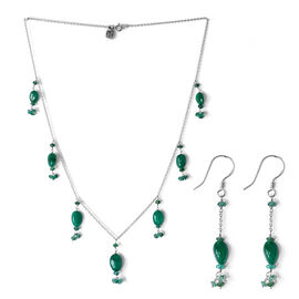 2 Piece Set - Boyaca Colombian Emerald Necklace (Size 18) and Earrings in Platinum Overlay Sterling Silver 20.530 Ct.