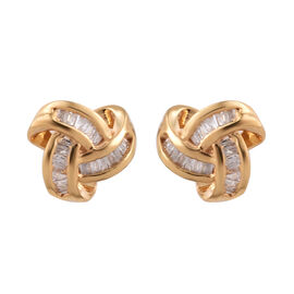 Diamond (Bgt) Triple Knot Earrings (with Push Back) in 14K Gold Overlay Sterling Silver 0.255 Ct.