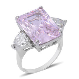 ELANZA Swiss Star Simulated Kunzite and Simulated Diamond Ring in Rhodium Overlay Sterling Silver