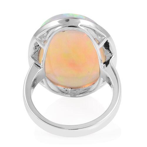Signature Collection- RHAPSODY 950 Platinum AAAAA Ethiopian Welo Opal (Ovl) Ring 18.840 Ct.Platinum Wt 10.50 Gms