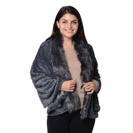 Super Soft Faux Fur Wrap with Pineapple Pattern (Size 152x59 Cm) - Dark Grey