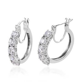 J Francis Made with Swarovski Zirconia Hoop Earrings in Platinum Plated Sterling Silver 5.02 Grams