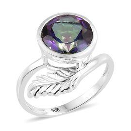 Mystic Green Quartz (Rnd) Leaf Ring in Sterling Silver 3.250 Ct.