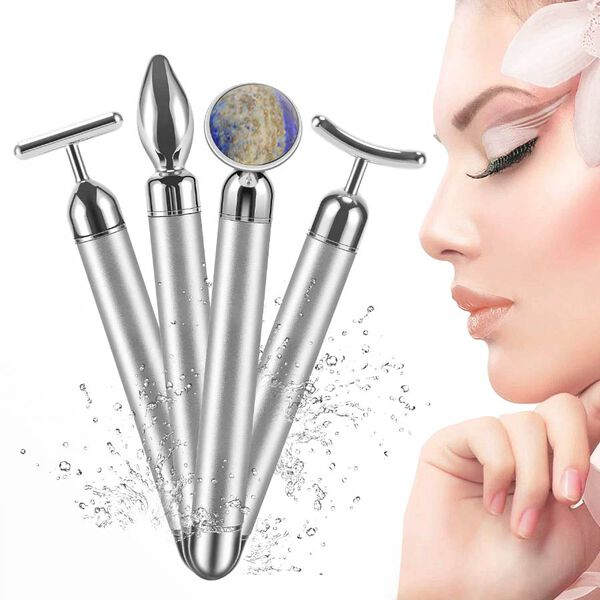 4-in-1 Lapis Facial Roller - Silver Plated Interchangeable Heads (Incl. Lapis, T-Shaped and Drip-Shaped Face Lift, Circle Eye Massager Head) (1xAA Battery not included)