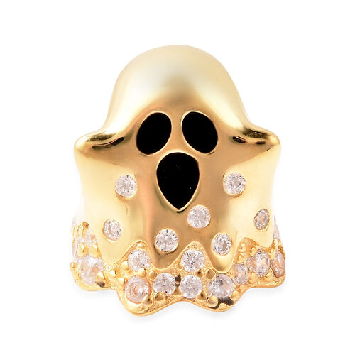 Charmes De Memoire - Simulated Diamond Ghost Charm in Yellow Gold Overlay Sterling Silver Charm/Pend