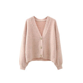 Kris Ana V Neck Wool Cardigan One Size (8-16) - Pink