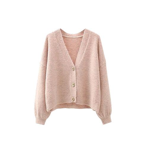 Kris Ana V Neck Wool Cardigan One Size (8-16) - Pink