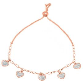 ELANZA Simulated Diamond Heart Charm Bracelet (Size 6-8) in Rose Gold Overlay Sterling Silver