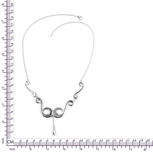 LucyQ Rhodium Overlay Sterling Silver Swirl Necklace (Size 18), Silver wt 27.41 Gms.