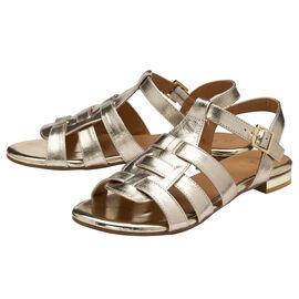 RAVEL Gold Leather Renata Flat Sandals