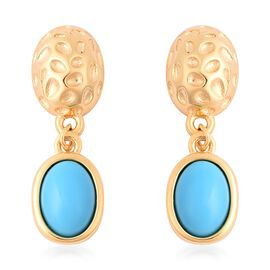 Arizona Sleeping Beauty Turquoise (Ovl 7x5mm) Drop Earrings (with Push Back) in Yellow Gold Overlay