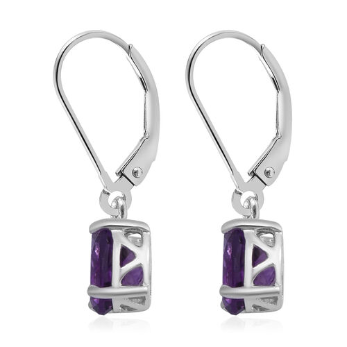 MP Amethyst Lever Back Earrings in Rhodium Overlay Sterling Silver 2.36 Ct.