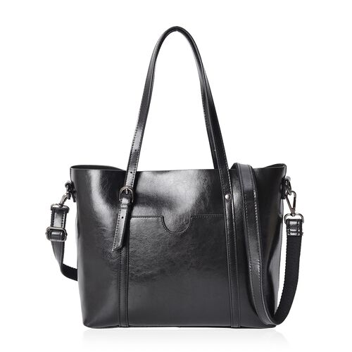 100% Genuine Leather Black Colour Tote Bag with Removable Shoulder Strap (Size 37x30x26x13 Cm)