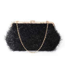 New Season - Black Clutch Bag with Chain Shoulder Strap (Size 29x17.5 Cm)